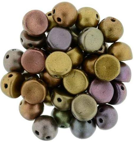 2-Hole Cabochon Beads IRIS BRONZE METALLIC MATTE