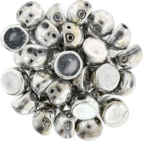 2-Hole Cabochon Beads SILVER