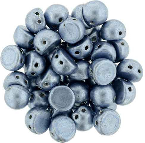 2-Hole Cabochon Beads AIRY BLUE SATURATED METALLIC