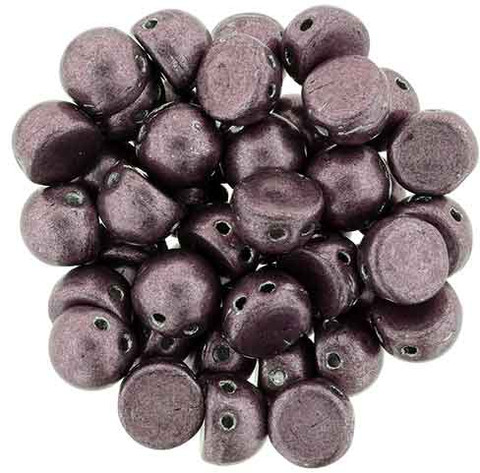 2-Hole Cabochon Beads DUSTY CEDAR SATURATED METALLIC