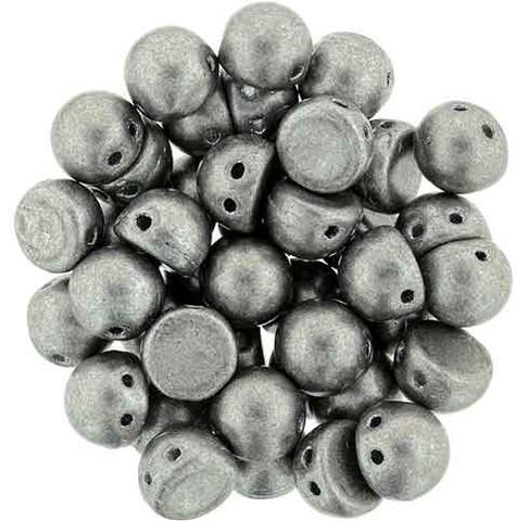 2-Hole Cabochon Beads SHARKSKIN SATURATED METALLIC