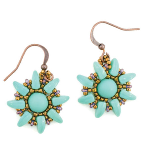 Sunflower Earrings Pattern with Prong Beads Green