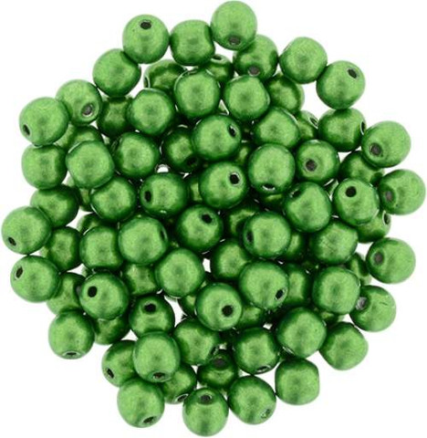 3mm Round Druk Beads KALE SATURATED METALLIC
