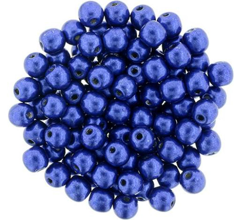 4mm Round Druk Beads LAPIS BLUE SATURATED METALLIC