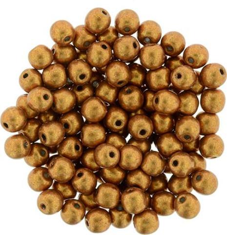 4mm Round Druk Beads FLAME SATURATED METALLIC
