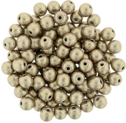 6mm Round Druk Beads HAZELNUT SATURATED METALLIC