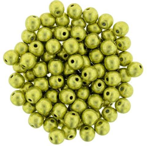 2mm Round Druk Beads PRIMROSE YELLOW SATURATED METALLIC