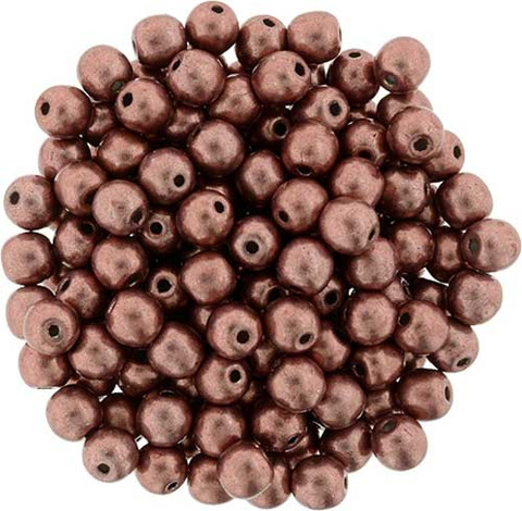 4mm Round Druk Beads GRENADINE SATURATED METALLIC