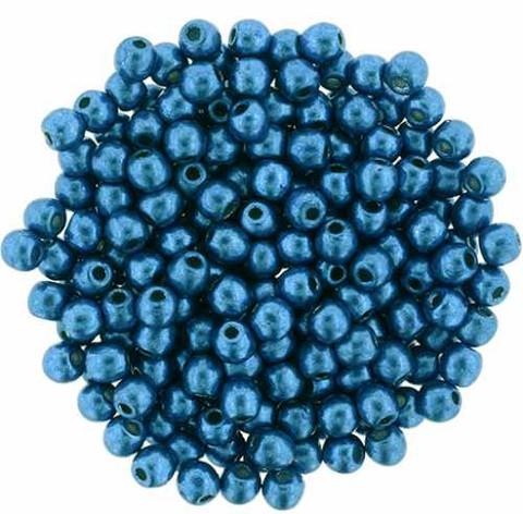 3mm Round Druk Beads MARINA SATURATED METALLIC