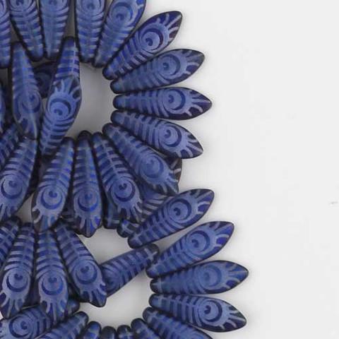 Dagger MONTANA OPAL MATTE LASER ETCHED PEACOCK EYE Czech Glass Beads