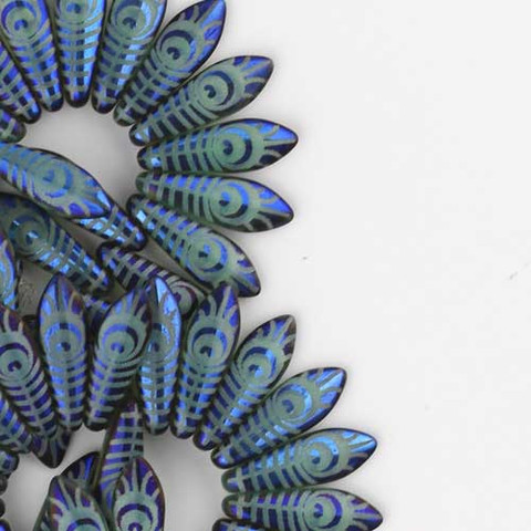 Dagger TURQUOISE OPAL LASER ETCHED PEACOCK EYE Czech Glass Beads