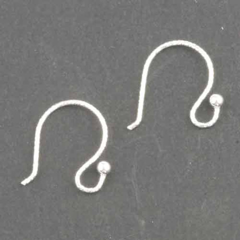 7mm Sterling Silver ROUND Ear Wire w/2mm BALL
