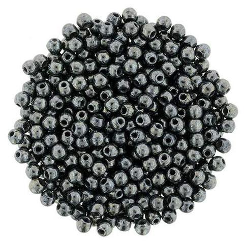 2mm Round Druk Beads JET HEMATITE Czech Glass Wholesale