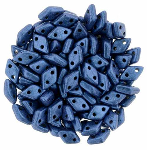 2-Hole Diamond Beads 4x6.5mm CzechMates (10g) BLUE METALLIC SUEDE