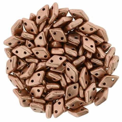 2-Hole Diamond Beads 4x6.5mm CzechMates (10g) COPPER METALLIC MATTE