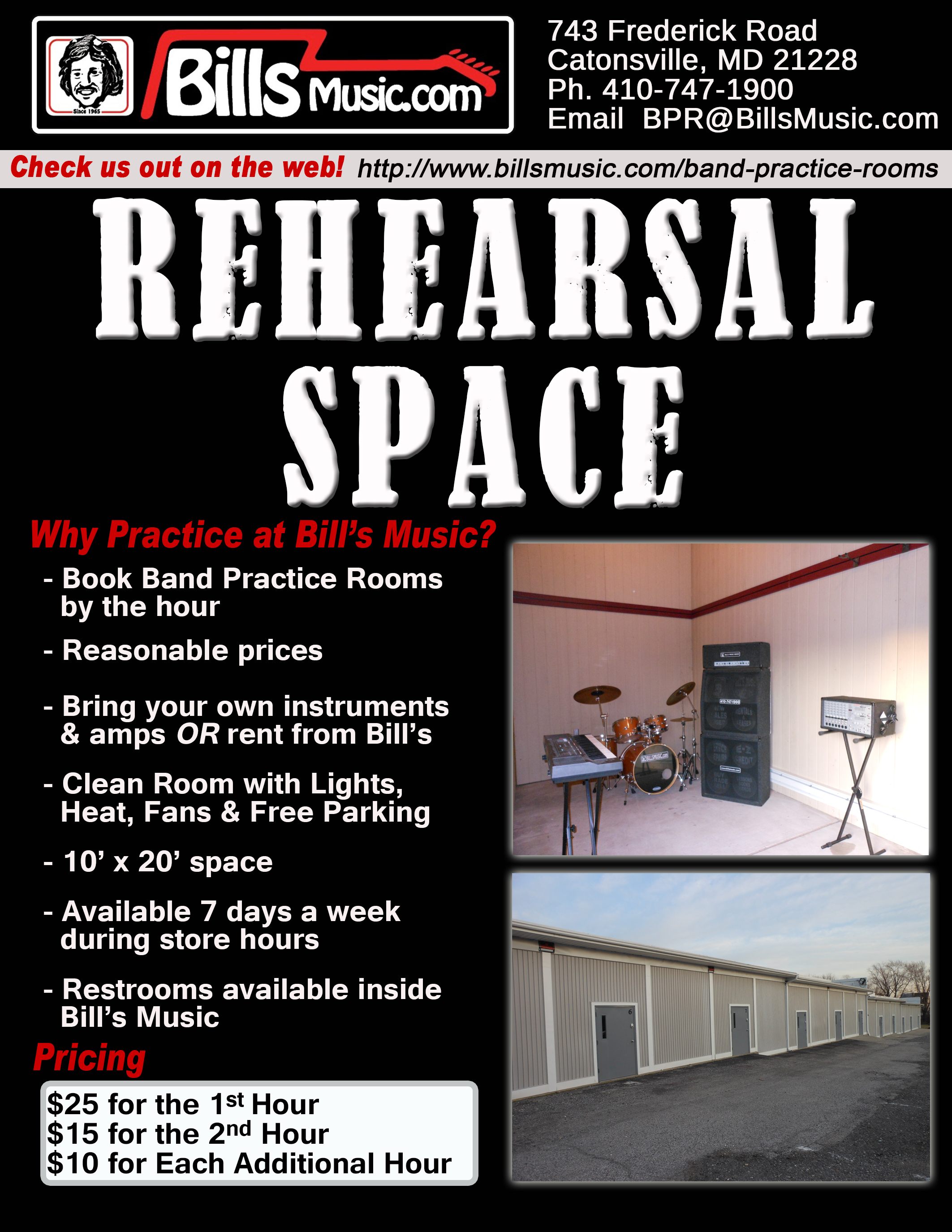 Bill S Music In Baltimore Band Rehearsal Practice Space Low Rates