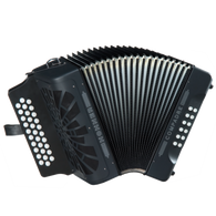 Hohner Compadre 2-Voice G/C/F Diatonic Accordion, Black with Gig Bag