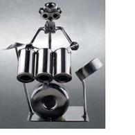 Metal Drum Player Figurine