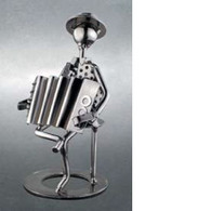 Metal Accordion Player Figurine