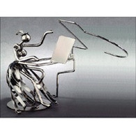 Metal Female Piano Player Figurine