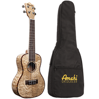 Amahi UK880 Quilted Ash Top Concert Ukulele With Padded Gig Bag