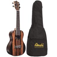 Amahi UK990 Ebony Top Concert Ukulele With Padded Gig Bag