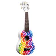 Amahi DDUK3 Soprano Ukulele Rainbow Flower Design, With Carrying Case