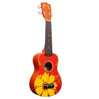 Amahi DDUK5 Soprano Ukulele Orange Flower Design With Case