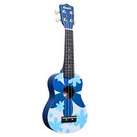 Amahi DDUK8 Soprano Ukulele Blue Flower Design, With Carrying Case