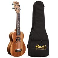 Amahi UK130 Traditional Shape, Select Mahogany Soprano Ukulele With Carrying Case