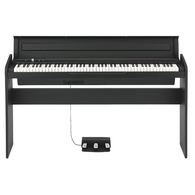KORG LP-180 Digital Piano - Black w/  keyboard cover, a one-piece stand, and a three-pedal unit