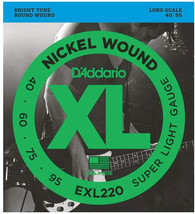 D'Addario EXL220 Nickel Wound Bass Guitar Strings, Super Light, 40-95, Long Scale