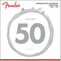 Fender Stainless 9050's Bass Strings, Stainless Steel Flatwound, 9050ML .050-.100 Gauges, (4)