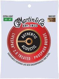 Martin Guitar Authentic Acoustic Lifespan 2.0 MA530T, 92/8 Phosphor Bronze, Treated Extra-Light-Gauge Strings