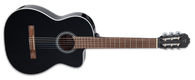 Takamine Classical with cutaway, spruce top, sapele back and sides, black finish, and chrome hardware, TP4T electronics