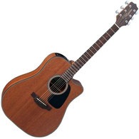 Takamine Dreadnought with cutaway, sapele top, sapele back and sides, natural satin finish, pinless bridge and chrome hardware TP-4T electronics