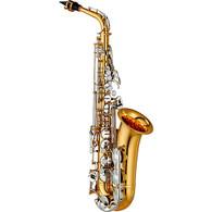 Yamaha Standard Alto Saxophone; key of Eb; nickelplated keys; newly redesigned intermediatestyle neck