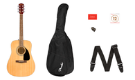 Fender FA-115 Dreadnought Pack, Natural, Walnut Fingerboard w/ Gig Bag, Picks, Strap, and Strings
