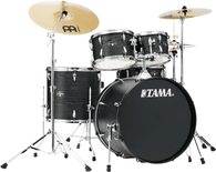 Tama IE52CBOW 5-Piece Drum Kit Cymbals, Throne and 22-Inch Bass (Black Oak Wrap)