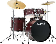 Tama Imperialstar IE52C 5-piece Complete Drum Set with Snare Drum and Meinl Cymbals - Burgundy Walnut Wrap