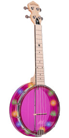 Gold Tone Lightup Little Gem (Amethyst): See-Through Banjo-Ukuleles with Lights Includes Gigbag