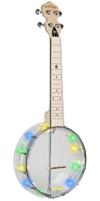 Gold Tone Lightup Little Gem Diamond (Clear): See-Through Banjo-Ukuleles with Lights Includes Gigbag