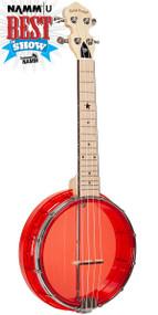 Gold Tone Little Gem Ruby (Red): See-Through Banjo-Ukulele with Gigbag