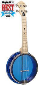 Gold Tone Little Gem Sapphire (Blue): See-Through Banjo-Ukulele with Gigbag