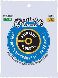 Martin Authentic Acoustic MA170 Extra-Light-Gauge Acoustic Guitar Strings, 80/20 Bronze