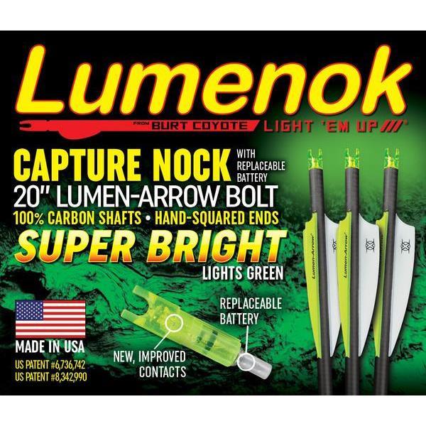 "Lumenok 20"" Carbon Bolt - Capture Nock - 3pk - 857603003606"