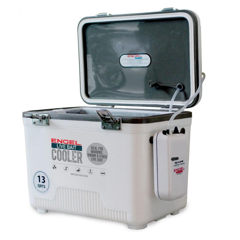 Engel 13QT White Live Bait Cooler with Aerator & Net - 816219024788