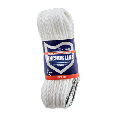 """Attwood Hollow Braid Poly Anchor Line 1/4"""" - 50 FT - 022697117144"""