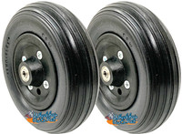"CW251B 7 X 2""  QUICKIE CASTER WHEEL WITH BLACK URETHANE RIB TIRE - SOLD AS PAIR"
