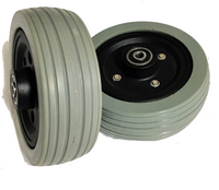 CLEARANCE CW235B - 6X2 CASTER WHEEL, BLACK HUB, LIGHT GREY TIRE W BEARINGS & SPACER. SOLD AS PAIR
